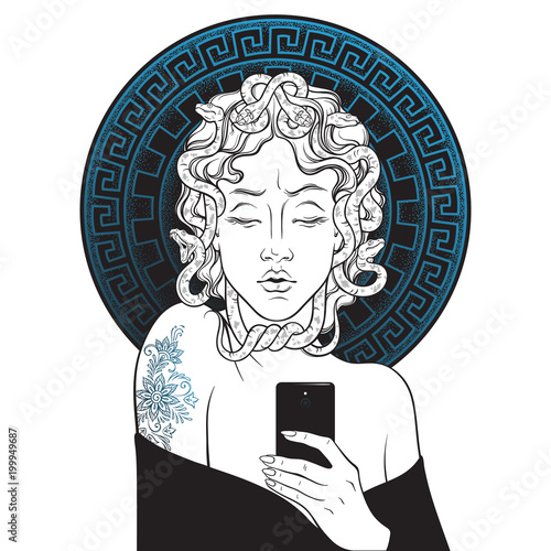 Medusa Gorgon selfie hand drawn line art and dot work pop print design isolated vector illustration Wallpaper Mural