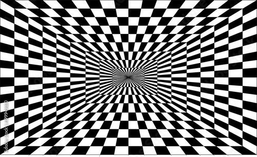 Fotografie, Obraz  One-point perspective tunnel optical illusion vector