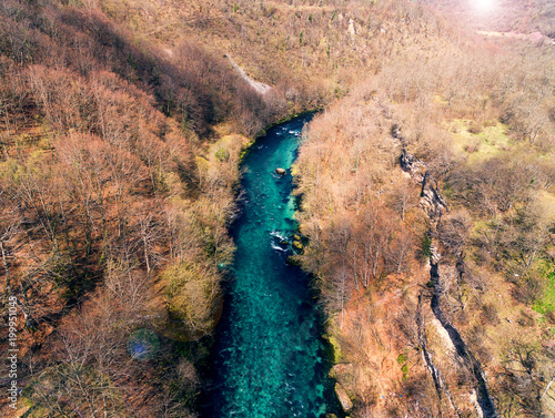 Tuinposter Zalm Drone view of beautiful blue river
