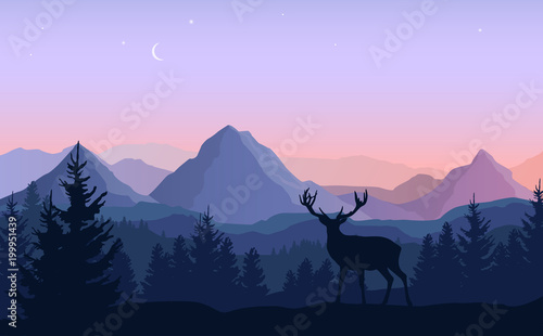 Poster Purple Vector evening landscape with blue and purple silhouettes of mountains, forest and standing deer