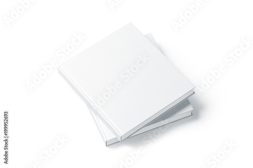 Fotografering  Two blank white hard cover books mock up, top view from the side