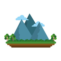 Beautiful mountains landscape isolated vector illustration graphic design