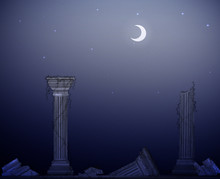 Moon Night And Ruins Of Marble...