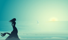 Silhouette Mermaid Sitting On The Edge Of The Cliff And Looking At The Small Sailing Ship In Morning Sun Beams, Mermaid Story,