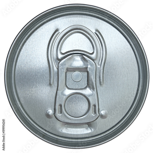 Ring pull can top in closeup isolated on a white background
