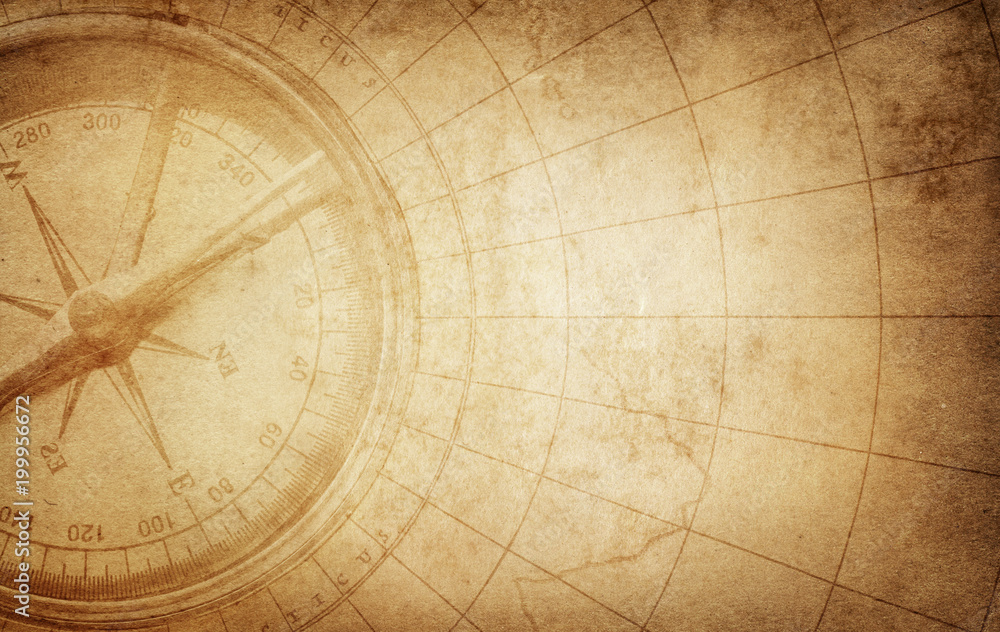 Fototapety, obrazy: Old vintage retro compass on ancient map. Survival, exploration and nautical theme grunge background