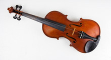 Closeup The Wooden Violin Put On White Background.Old And Age For Long Time Use.broken,color Not Smooth,two String Broken,