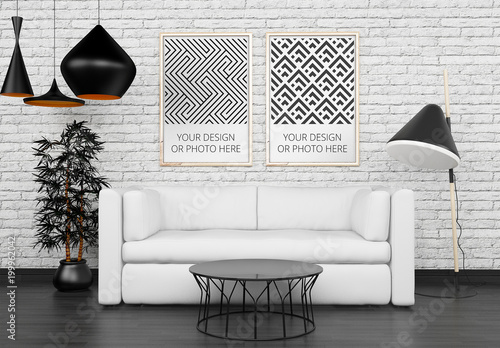 2 vertical posters above living room sofa mockup buy this stock