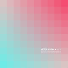 Abstract Background With Rhythmic Overlapping Squares. Transition And Gradation Of Color. Vector Blend Gradient For Illustrations, Covers And Flyer. Color Blue, Pink, Red.