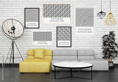 5 Posters Above Living Room Sofa Mockup Buy This Stock Template And