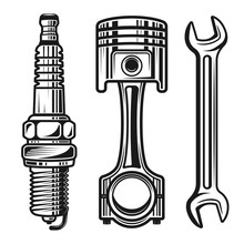Car Or Motorcycle Repair Parts Vector Objects