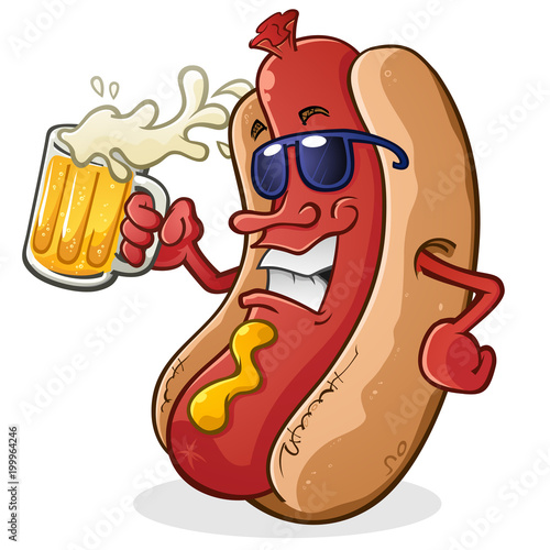 Foto Hot Dog Cartoon Character Wearing Sunglasses and Drinking a Mug of Beer With Sun
