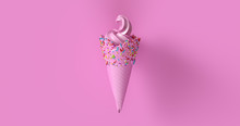 Pink Ice Cream With Multi Colored Sprinkles 3d Illustration