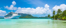 Summer Cruise Vacation Travel. Luxury Cruise Ship Anchored Close To Exotic Tropical Island.