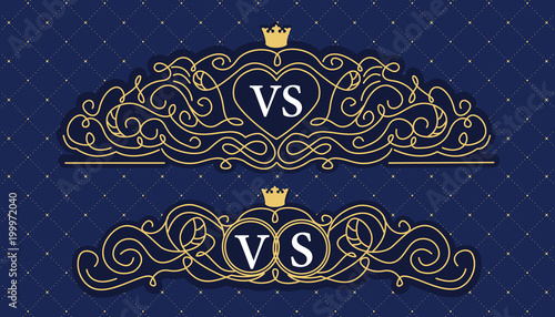 Navy Blue With Golden Line Decorative Ornament Frame For Wedding