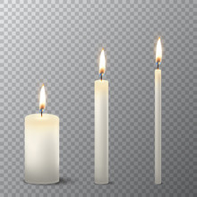 Vector 3d Realistic Different White Paraffin Or Wax Burning Party Candle Icon Set Closeup Isolated On Transparency Grid Background. Thick, Medium And Thin Size. Design Template, Clipart For Graphics
