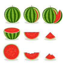 Set Of Colorful Watermelon Icons