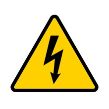 High Voltage Contamination Symbol. Yellow Triangular Warning Sign. Caution, Risk Of Electric Shock. Vector Illustration.