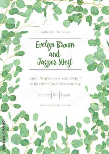 Wedding Eucalyptus Vertical Vector Design Banner Frame Rustic Greenery Invitation Card Green Tones