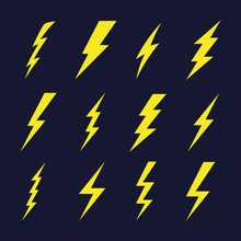 Thunder Sign Set. Flash Icons. Vector