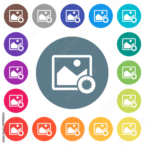 Authentic image flat white icons on round color backgrounds