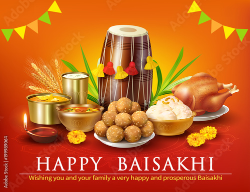 Fényképezés  . Greeting background with traditional food and dhol for Punjabi festival Baisak