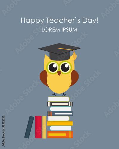 Poster Uilen cartoon Happy teachers day concept background Vector Illustration EPS10