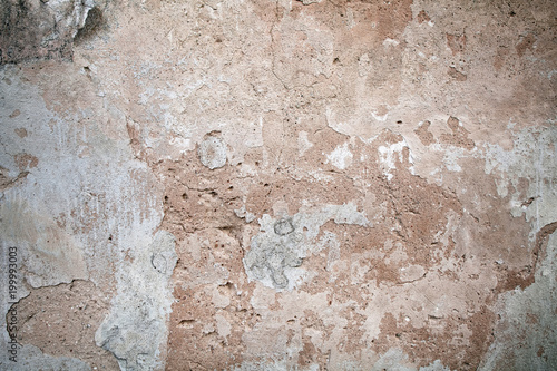 Fotoposter Oude vuile getextureerde muur Stucco surface background. Colorful plaster wall. Grunge scratched concrete panel