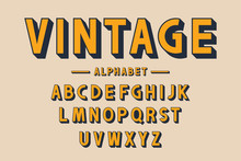 Retro Bold Font And Alphabet. Strong Letters With Long Shadows In Vintage Style. Retro Typography
