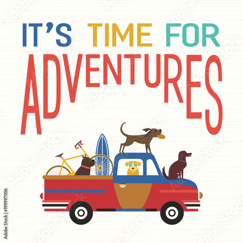 Foto op Canvas Cartoon cars Time for adventure. Cute comic cartoon. Colorful humor retro style. Dogs go by offroad car to beach for sport fun leisure activity. Dog days of summer poster concept. Vacation touring by auto vector