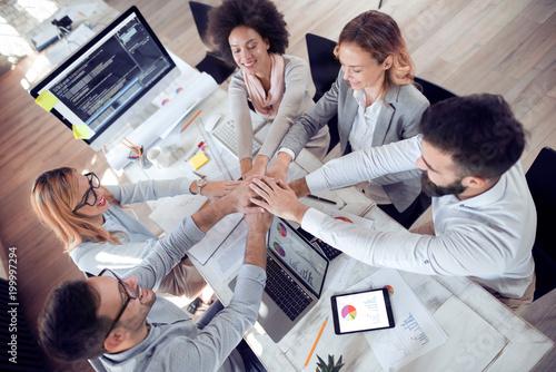 Fototapeta Successful business group in office obraz na płótnie