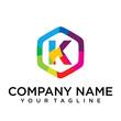 k Letter Logo Icon Hexagon Design template Element