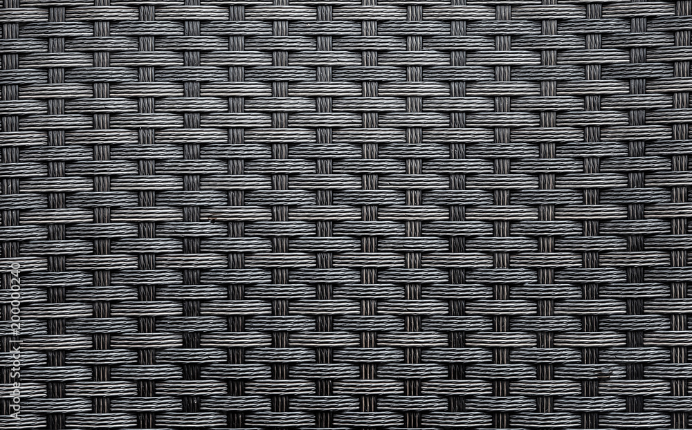 Fototapety, obrazy: Black artificial rattan pattern. Background of basket structure close-up. Furniture backdrop