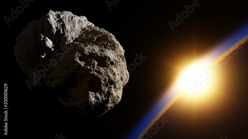 Huge asteroid in space approaching planet with sunrise Canvas Print