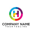 letter h logo design template. Colorful lined creative sign