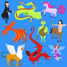 Mythological Animal Vector Mythical Creature Phoenix Or Fantasy Fairy And Characters Of Mythology Centaur Unicorn Or Griffin Illustration Set Of Cartoon Beasts Isolated On Background