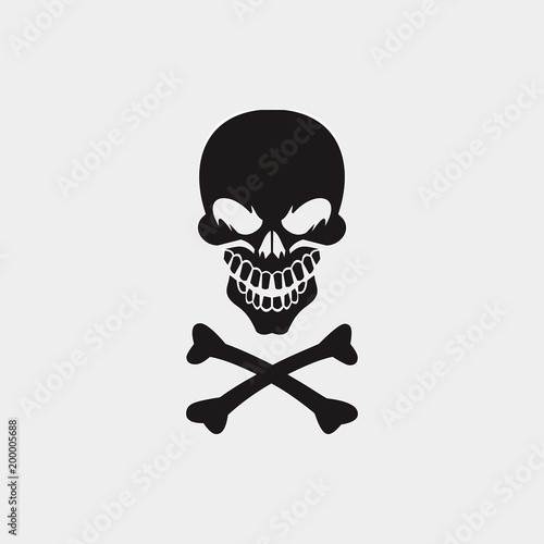 pirates or poison logo design with skull - Buy this stock vector and