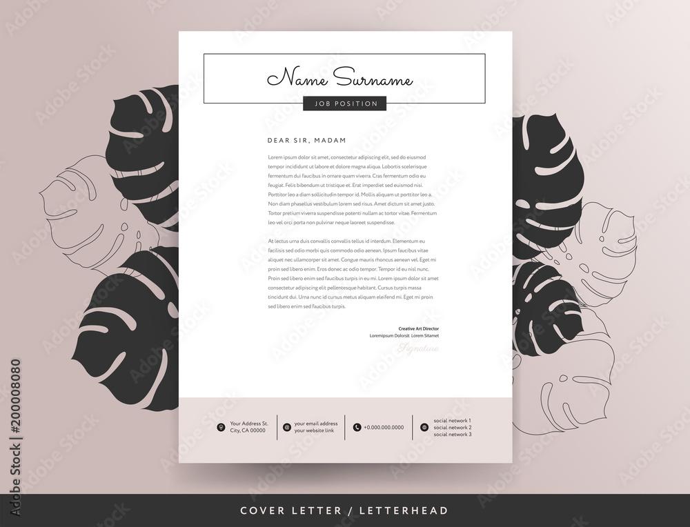 Feminine letterhead cover letter design template vector ...