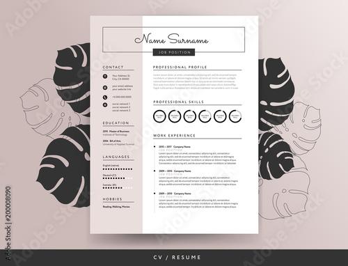 Feminine CV resume template - vector illustration – kaufen ...