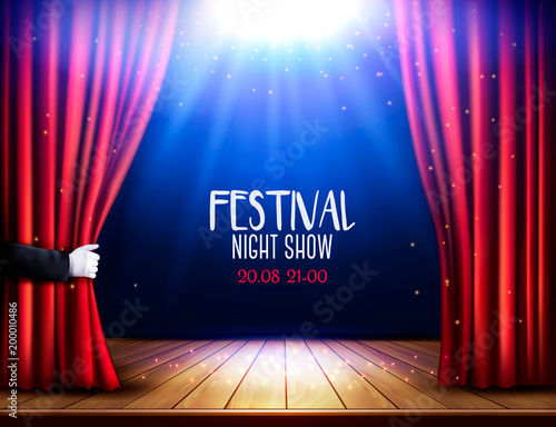 Sports shop A theater stage with a red curtain and hand. Festival night show poster. Vector.