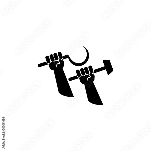 Hands Holding A Sickle And A Hammer Icon Element Of Communism