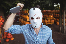 Man Wearing Halloween Mask