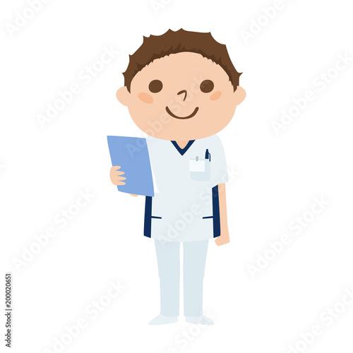 職業のイラスト笑顔で働く男性看護師 Buy This Stock Vector And