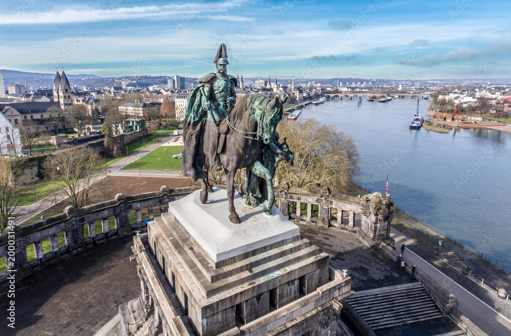 Fototapety, obrazy: Koblenz City Germany historic monument German Corner where the rivers rhine and mosele flow together on a sunny day