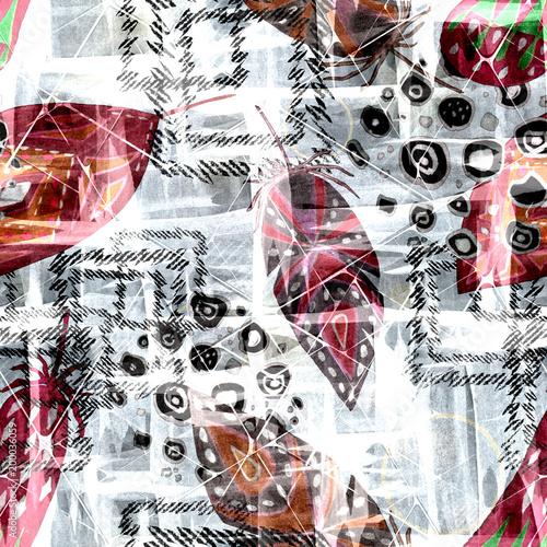 Plakaty na wymiar   tapeta-na-papierze-lateksowym-bezszwowy-kolorowy-boho-wzor-z-akwarela
