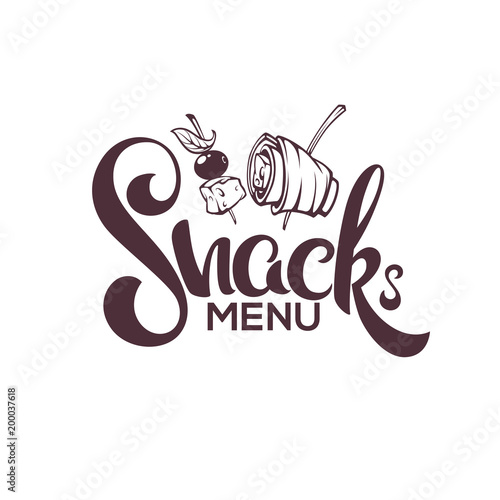 Fotografie, Obraz Snack Menu, Vector Image of Hand Drawn Appetizers and Lettering Composition For