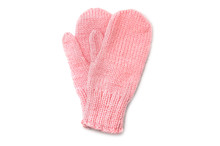 Pink Mittens Isolated On White...