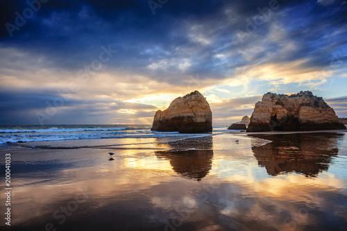 Foto op Aluminium Diepbruine Atlantic coast at sunset, Algarve, Portugal. Stunning beautiful landscape