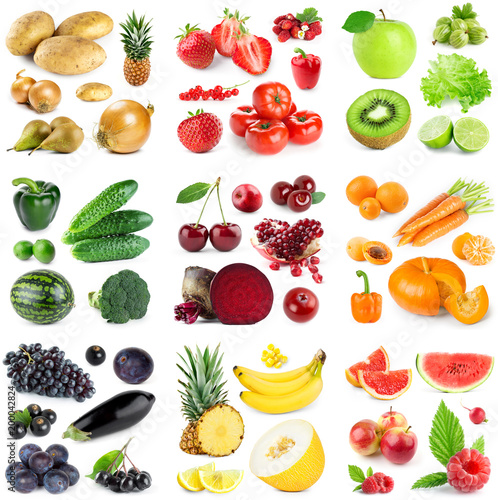 Naklejka owoce collection-of-fruits-and-vegetables-on-white-background