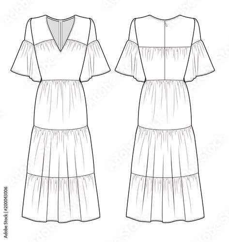 MAXI DRESS Fashion Flat Technical Drawing Template